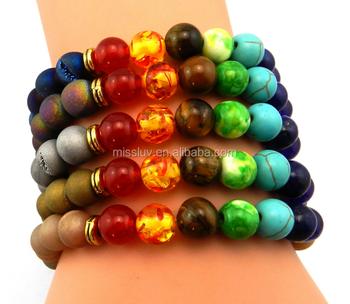 Mineral Beads Bracelets New Design Natural Stone Semi Precious Yoga Lucky