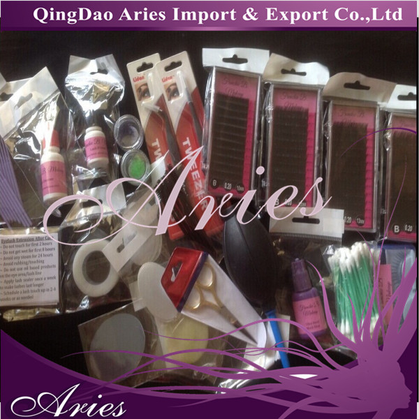 New Professional False Extension Eyelash Glue Brush Kit Set Box Case