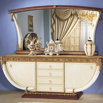 Exquis antique louis style ivoire en forme décoré à manger buffet miroir buffet et crédence
