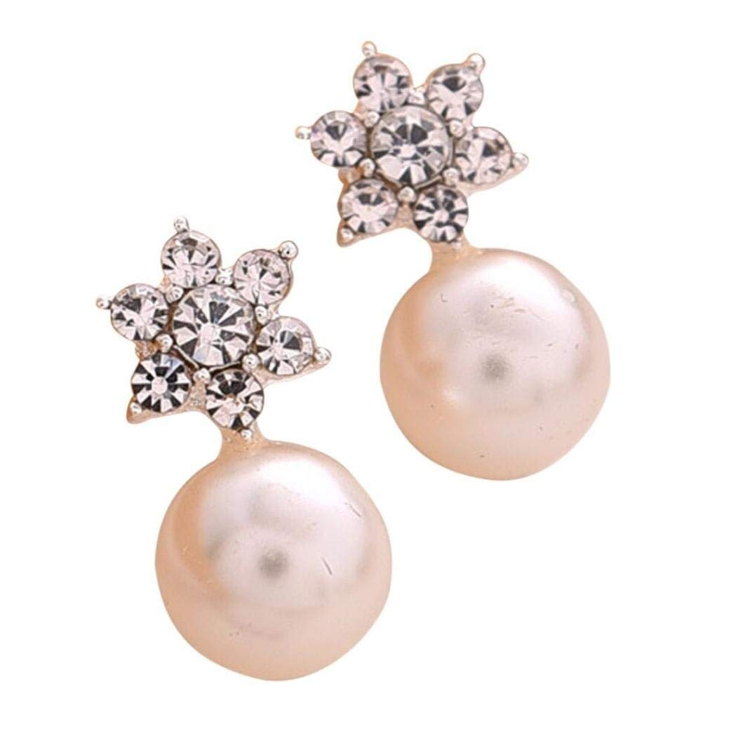Paymenow Hot Sale 2018 Women Girls Clearance Fashion Rhinestone Crystal Pearl Stud Earrings Charm Engagement Appointment Earrings Jewelry