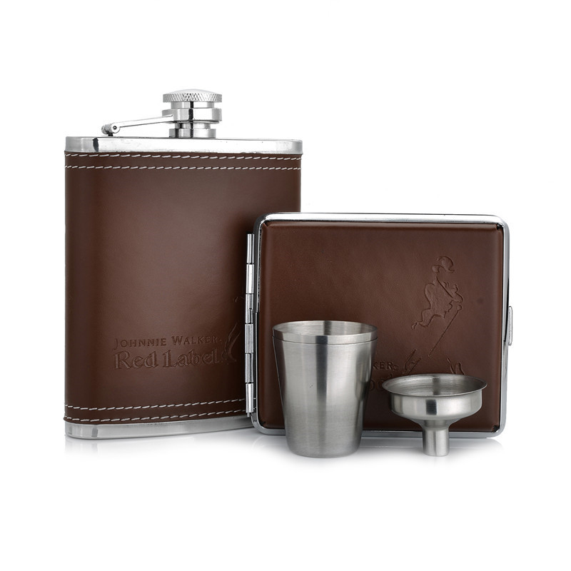 7oz Pu Leather Hip Flask with Cigarette Case Best Gift For Man