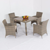 Weatherproof outdoor Rattan patio 4 Seater Garden Furniture Dining Set in Black chair and table