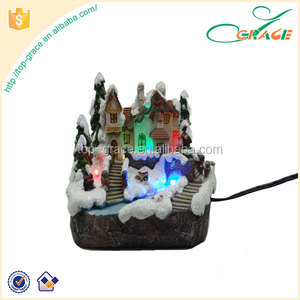 Custom Design Table Decoration Resin Led Christmas House With Light
