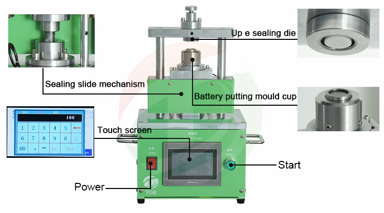 Electric Coin Cell Crimper Machine for CR2016 CR2025 CR2032 Coin Cell  Lab Research