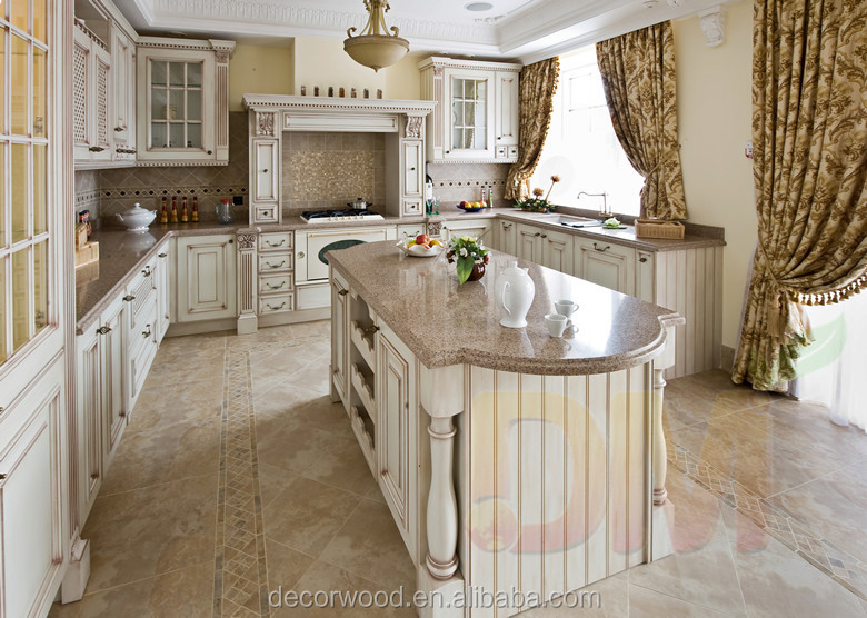 French Style Glazed White Custom Kitchen Cabinetry And Kitchen