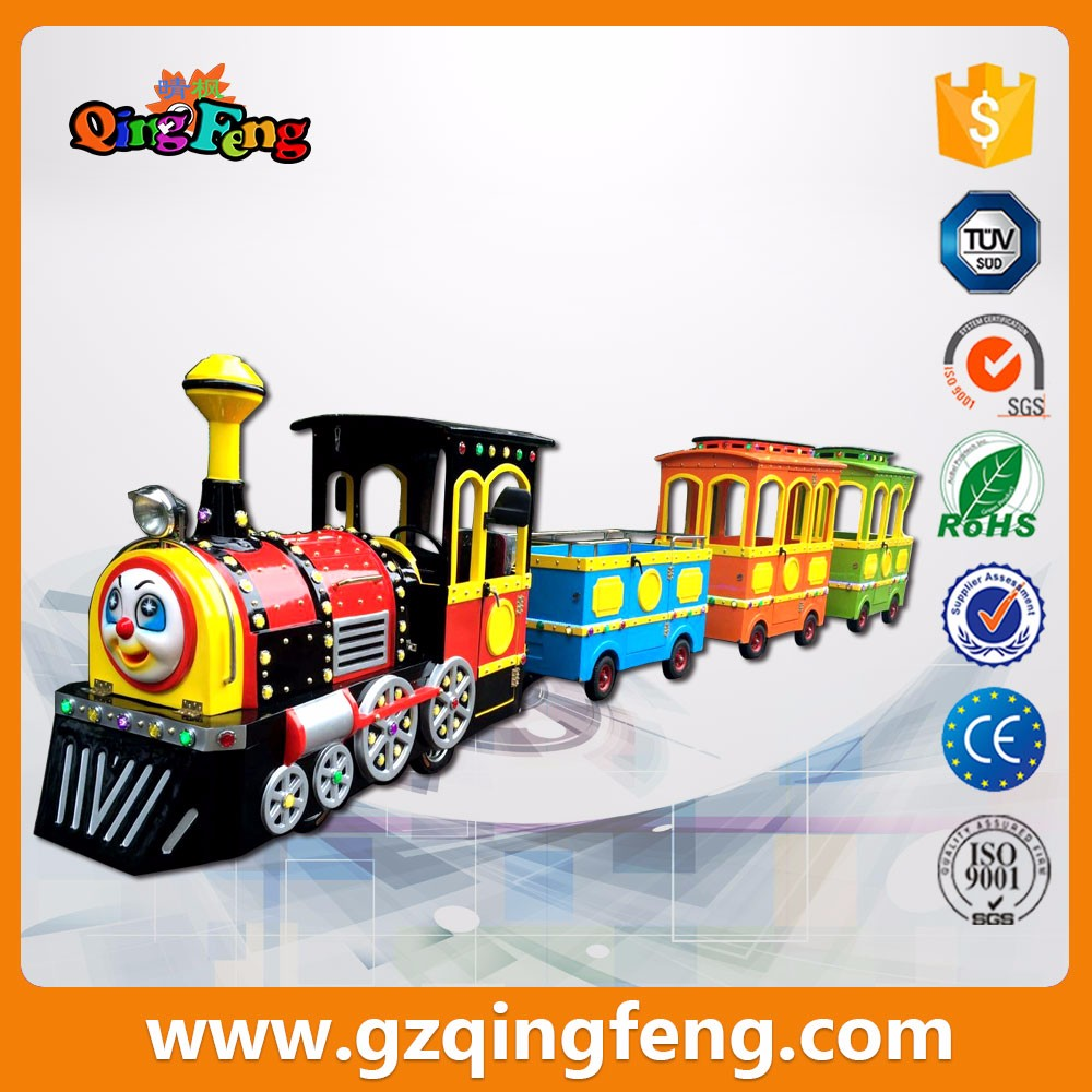 Qingfeng amusement park adults and children train rides simulators used trackless train for sale
