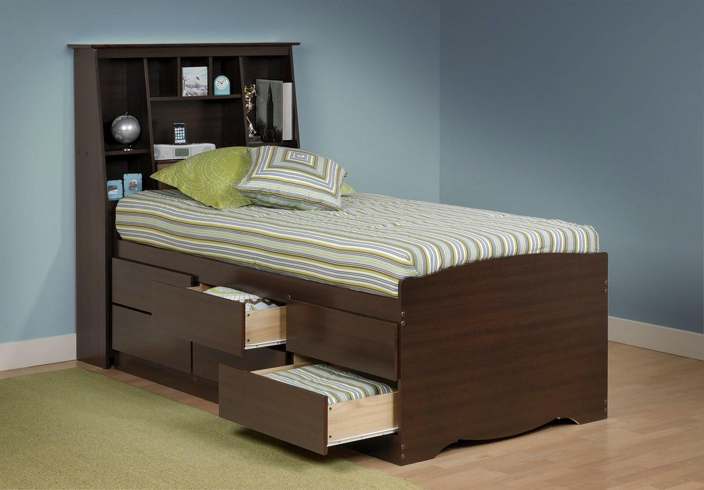 Prepac Black Sonoma Twin Bookcase Platform Storage Bed