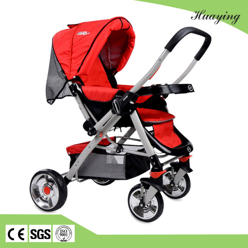 Baby lying or sitting 360 degree rotating wheels baby stroller / canopy folding stroller