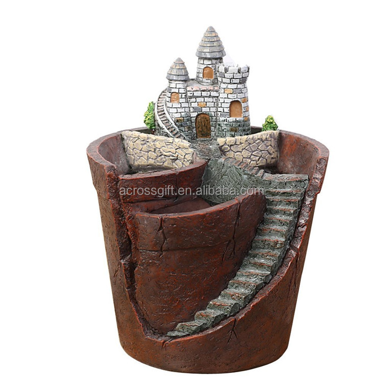Customized Handmade Color Painted Garden/Home Decorative Resin Fairy Garden Succulent Pot