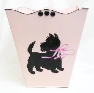 Retro Vintage Wastebasket ~ Trashcan ~ Trash Holder ~ Trash Basket E24~ Shabby Chic Pink Enamel with French Vintage 50's Scottie Art.