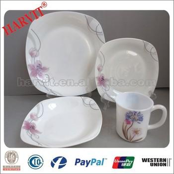Food safe Opalware Square Plates/For Dubai Market Opal 16pc Glassware Dinner Sets/Square & Food Safe Opalware Square Plates/for Dubai Market Opal 16pc ...