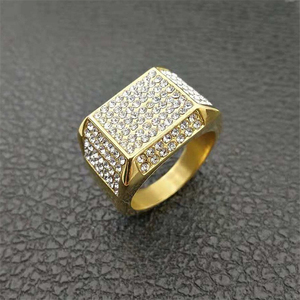 Men Hiphop Bling Bling Iced Out Square Crystal Ring Stainless Steel Hip Hop Rings