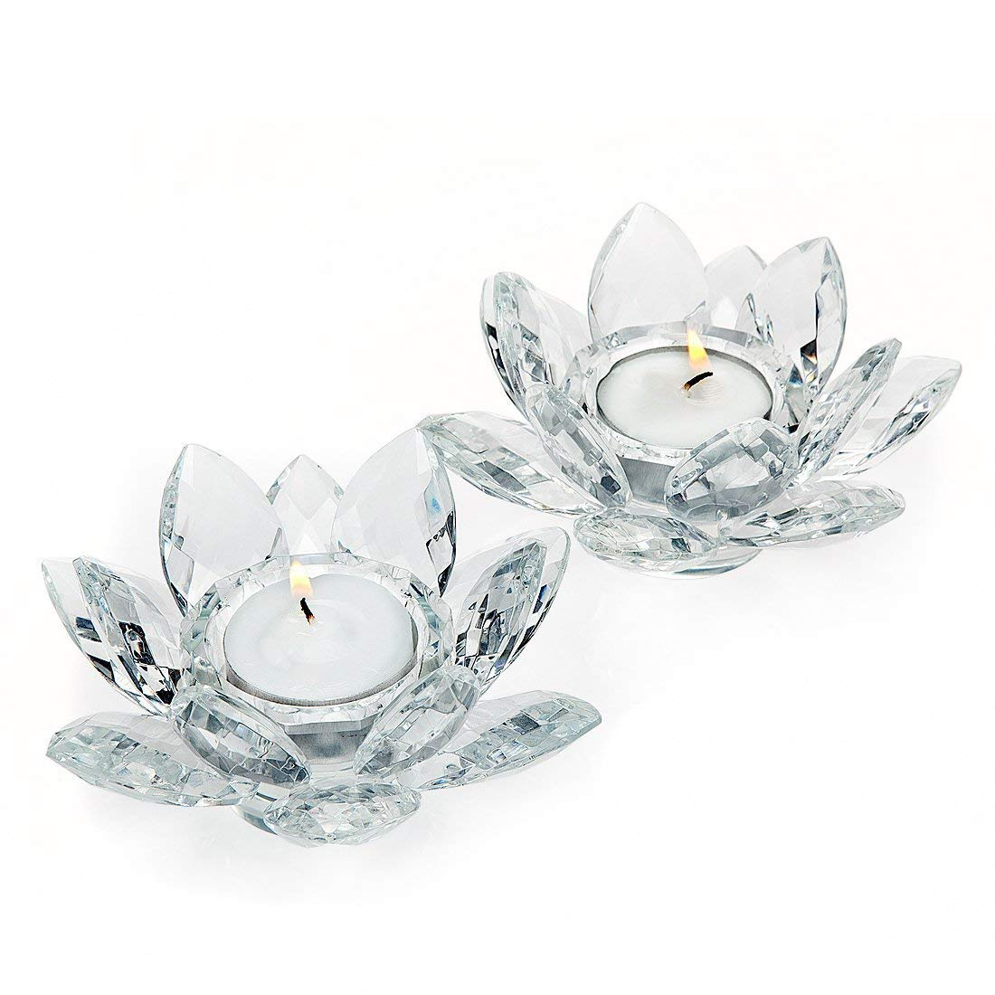 """Elegant Crystal 5"""" inch Votive Tealight Lotus Candle Holders, Set of 2, For Table, Buffet, Desk, Wedding or Party,"""