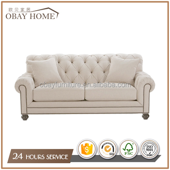 Accent Fabric Tufted Sofas Antique French Country Classic Style Traditional Living Room Furniture