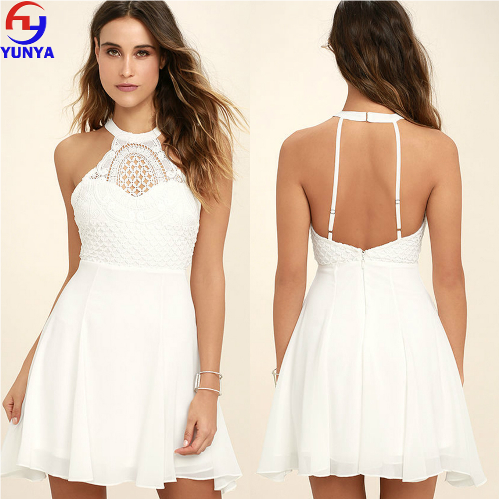 Ladies New Fashion Dress White Crochet Lace Trim Trend Summer Dress
