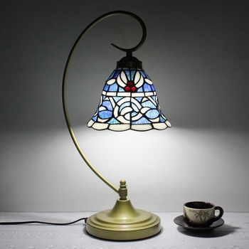 8inch tiffany style stained glass table lamp made by hand for home decoration