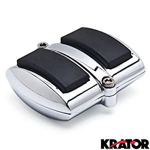 Krator Chrome Brake Pedal / Heel Shift Pad Cover Rubber For Yamaha V-Star 1300 2007-2012 Brake Pedal