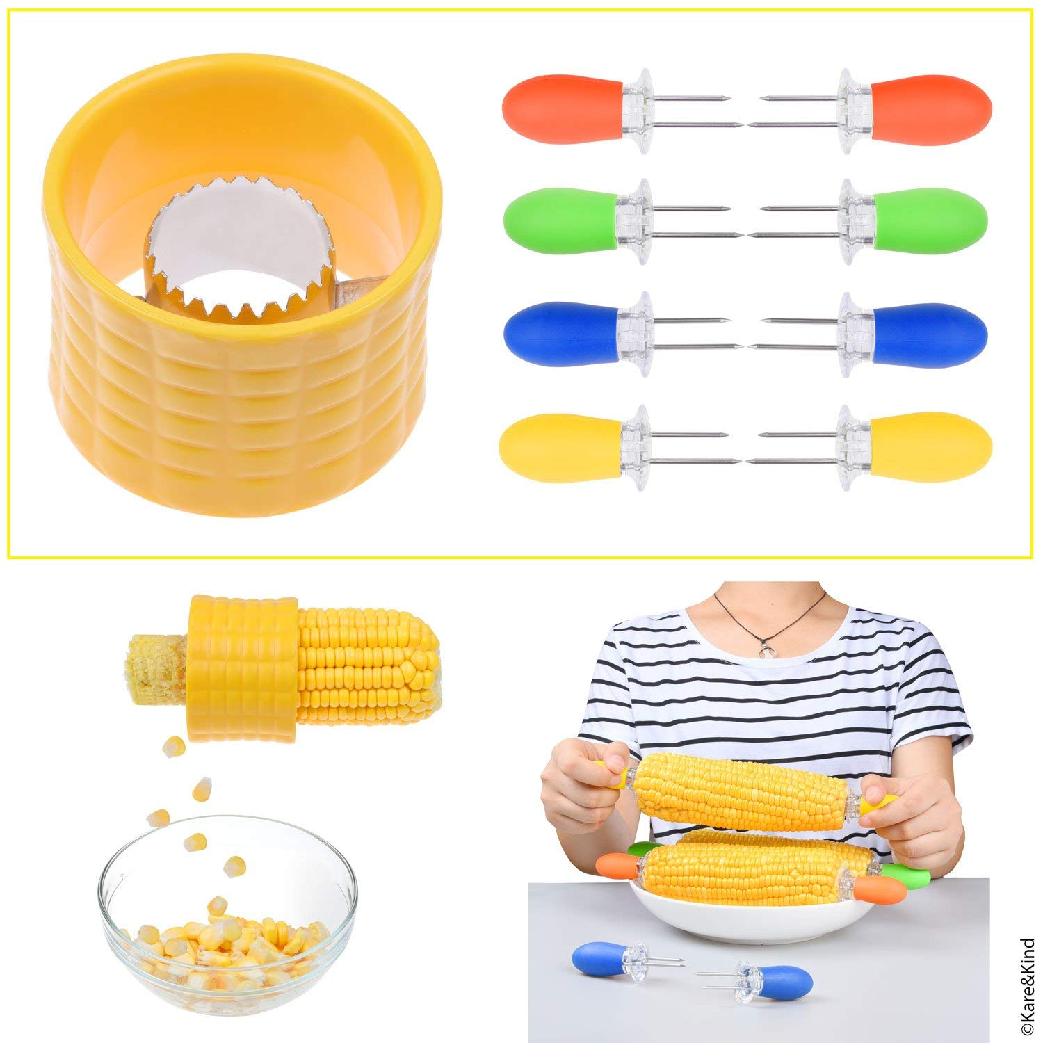 1x Corn Stripping Tool and 4X Corn Holder Pins - Easiest Way to Remove Kernels from Fresh Corn - Corn on The Cob Grips with Interlocking Design for Safety and Storage - Perfect for Salads, BBQ, etc.