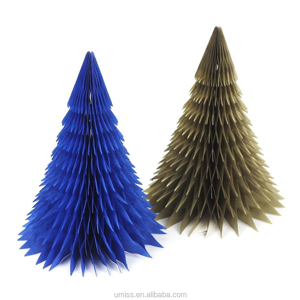 2 Pcs Blue, Gold Series Paper Honeycomb Merry Christmas Tree for Christmas, Shopping Malls Decoration