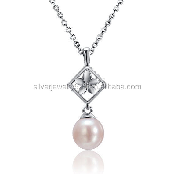 "Flower pearl necklace sterling silver pendant 18"" chain"