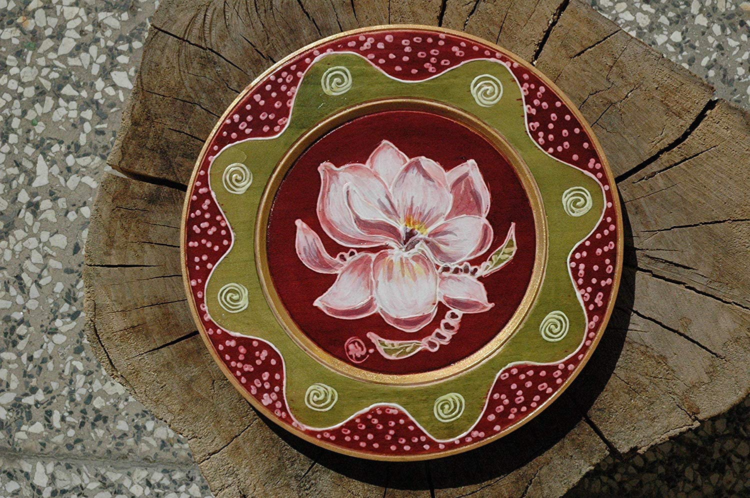 Sale!!!10% Off,Magnolia Wooden Plates, Hand Painted with Magnolia Flower, Magnolia Illustration on Wood Plate, Painting Magnolia, Artwork on Wood, Wall Art.