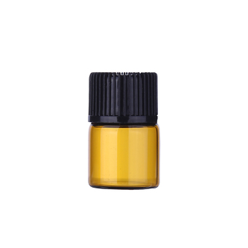 Wholesale amber essential oil glass bottle 1ml mini sample amber glass vial with Inner plug and screw cap