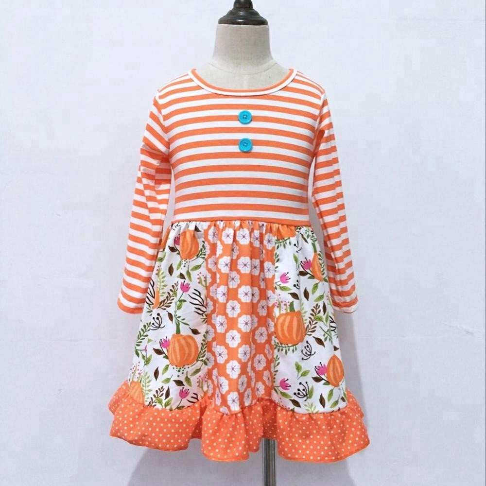 Bulk Wholesale Kids Girls pumpkin dress patch long sleeve Cotton Baby Dress фото
