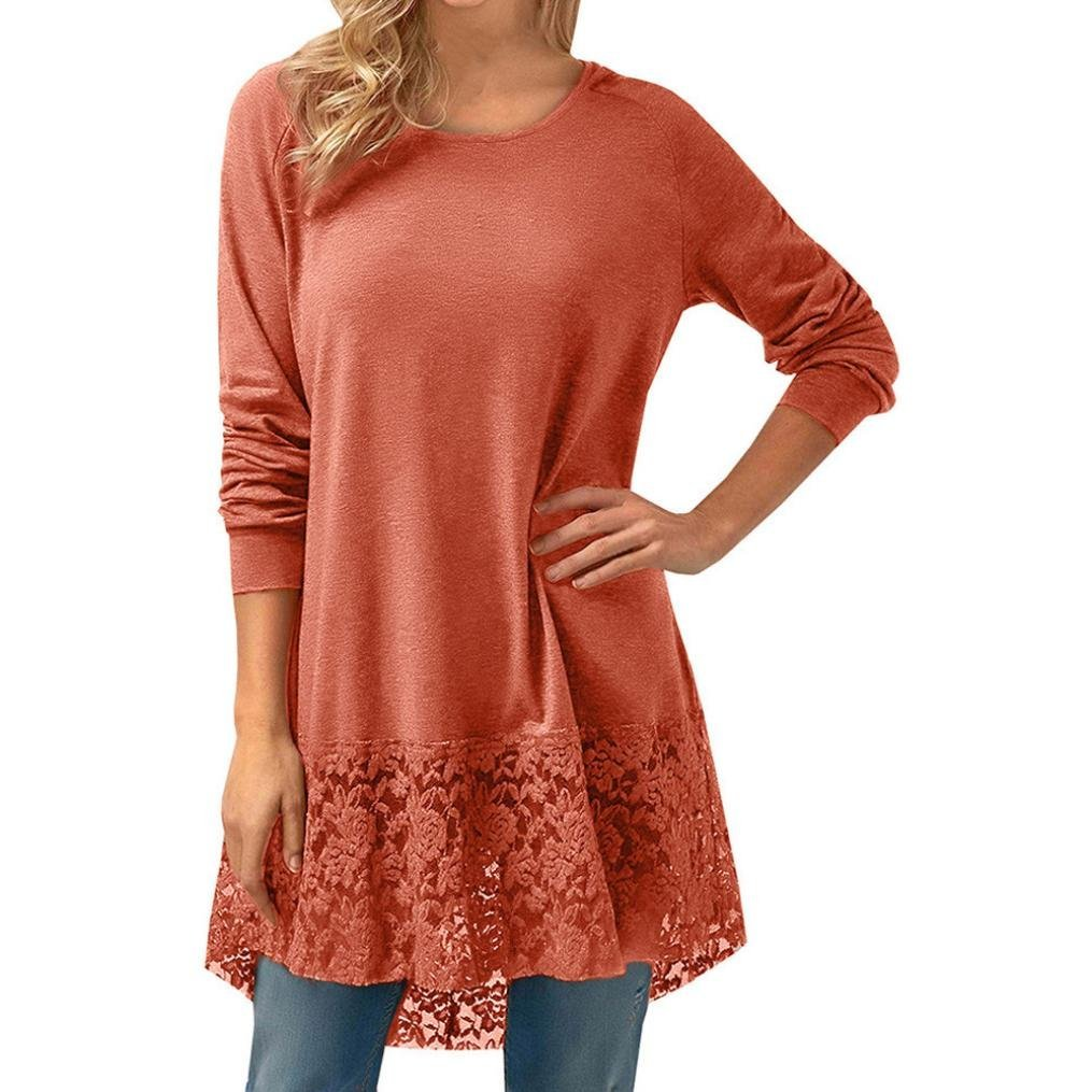 Clearance ! Women Dress, ღ Ninasill ღ Lace Long Sleeve Trim Hem Hoodie High Low Loose Tunic Tops Blouse (L, Orange)