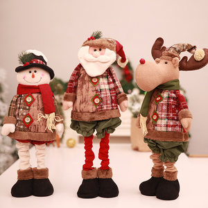 Christmas items small linen Christmas stretch stand the old man snowman doll Christmas window decorations set pieces