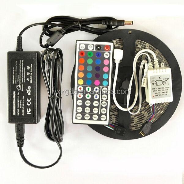 5050 RGB Whole kit 5M SMD RGB 5050 Waterproof Strip light 300 LED + 44 Key IR Remote + 12V 5A power