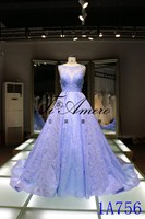 Panyu wedding dress 2016 China wholesale applique lace wedding dresses Panyu Sleeveless illusion Neckline Lace Wedding Gown Blue