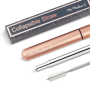 reusable eco friendly Drinking collapsible straws with Cleaning Brush  Stainless Steel telescopic straws with case