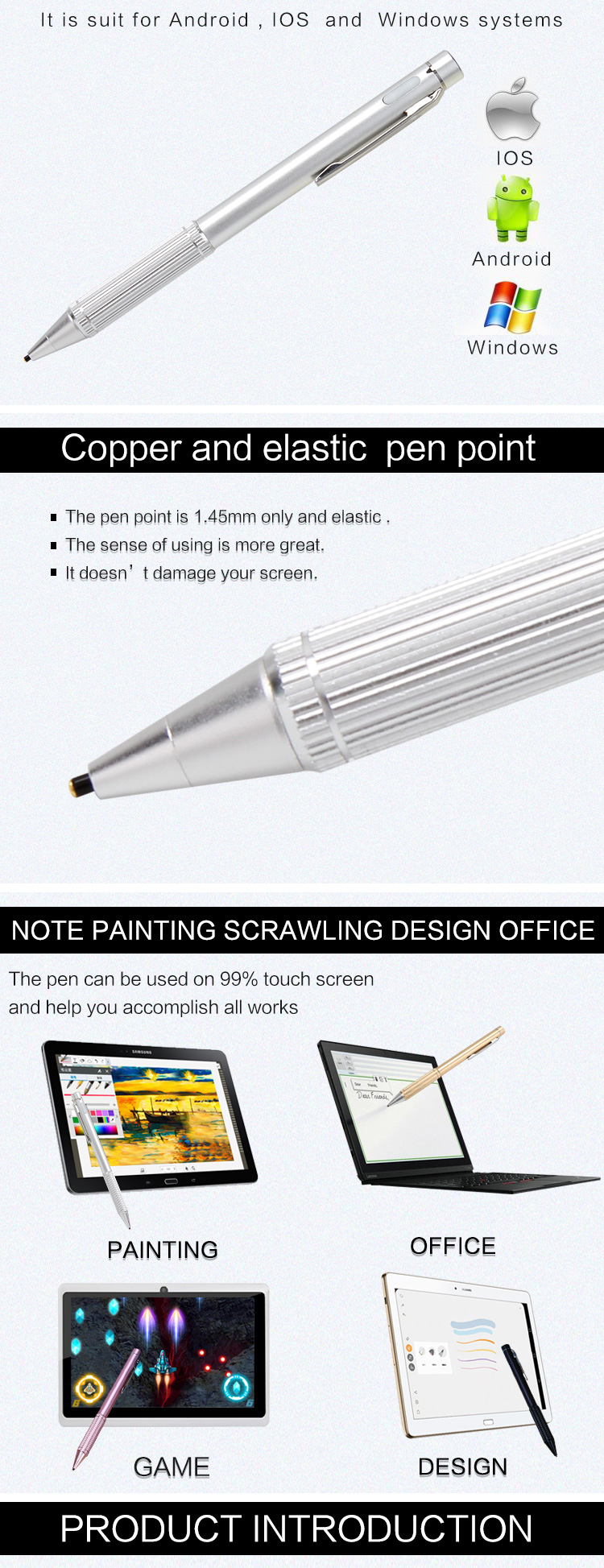 1.45mm Unique Stylus Pen Touch Screen APPLE Pencil Compatible for Drawing & Handwriting for Smartphones & Tablets Fine Point