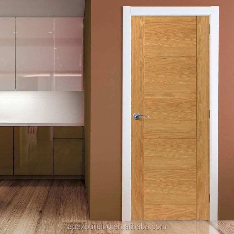 Modern oak interior design flush door with groove design for Door design with groove
