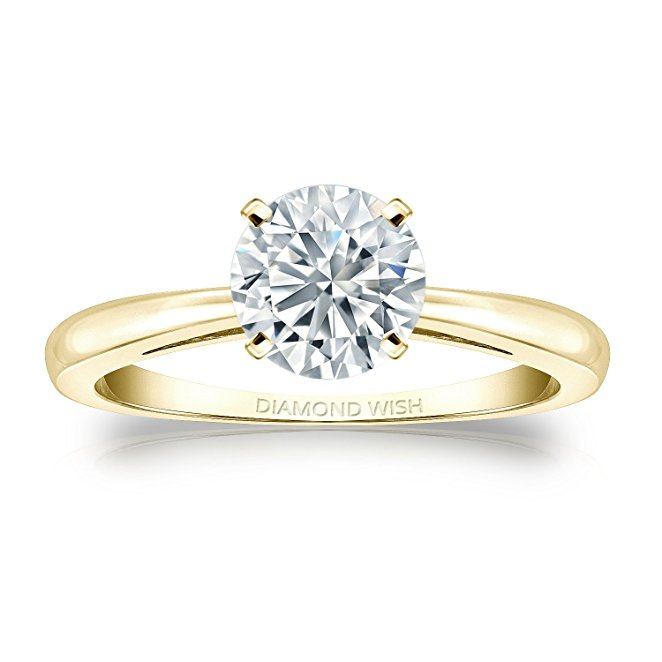 14k Gold Round-cut Diamond Solitaire Ring