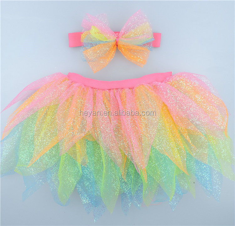Baby girls glitter chiffon tutus,puffy tutu dress and headband set