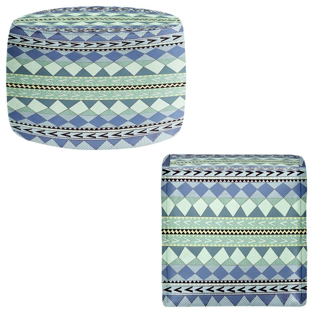 DiaNoche Designs Foot Stools Poufs Chairs Round or Square from by Nika Martinez - Purple Native Forest