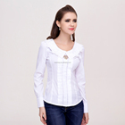 latest fashion casual blouse long sleeve blouse with pleated design for young ladies casual wear