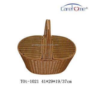 handweaved durable using plastic rattan storage basket with handle