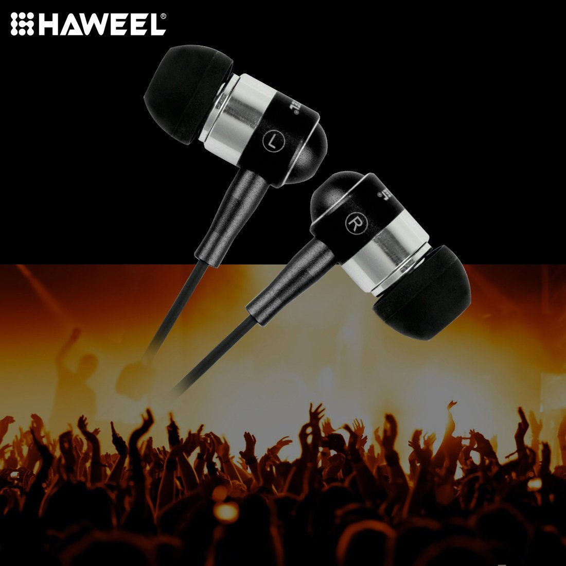 HIFI metal Super Bass Stereos wired earphone with mic