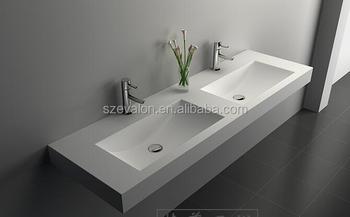 Design italiano pietra resina bagno lavelli con due rubinetti