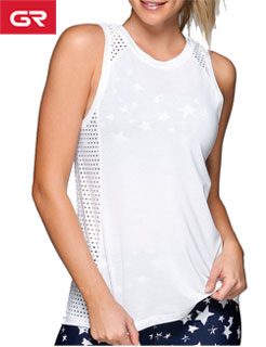 Premium Mesh Insert Custom Long Sleeve Womens Crop Tank Top