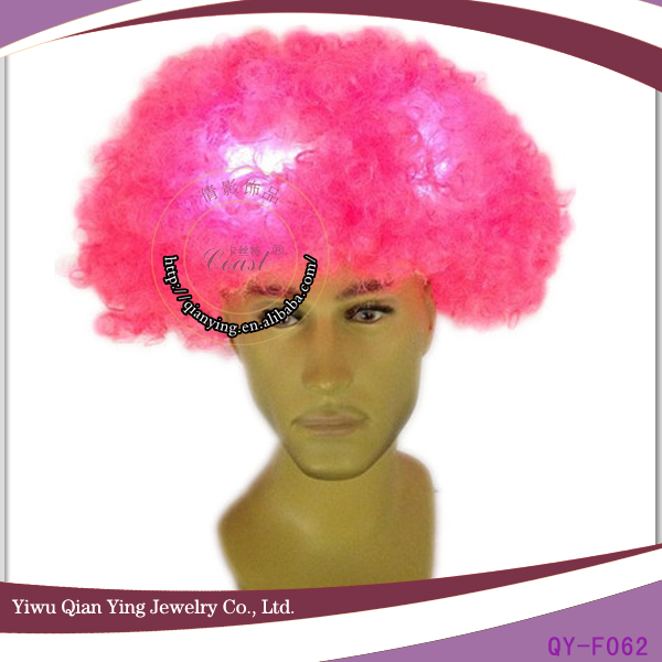 Synthetic Pink Afro Fan Wig With Led Lights