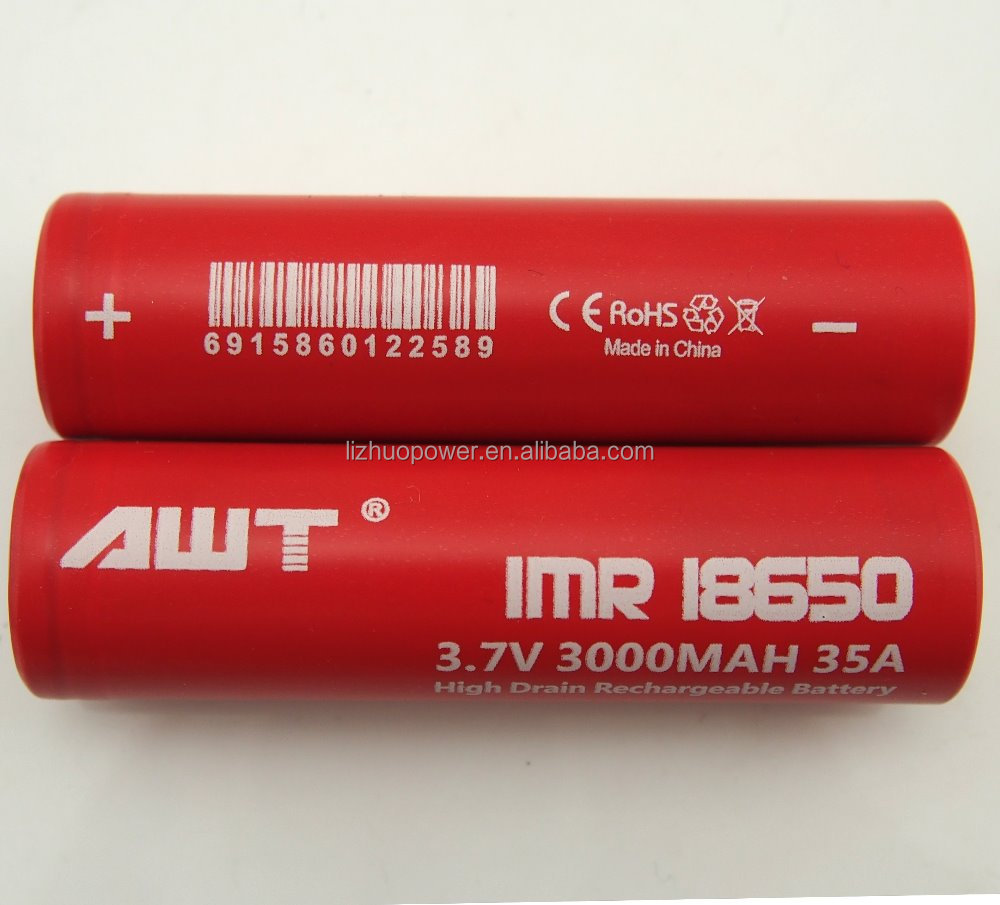 18650 battery 35A 3.7v 3000mah e cig vapor mod rechargeable 18650 3000mah 35A li-ion battery pandora box mod