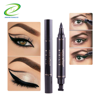 Hottest!! Miss Rose Double Head wing Seal Stamp Eyeliner Waterproof Liquid Eye Liner Pen