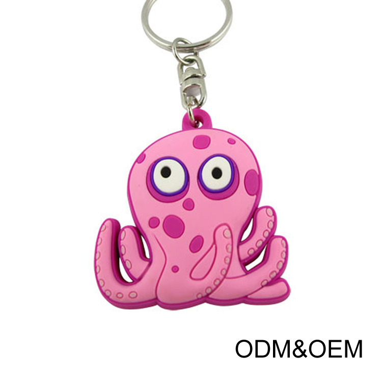 Design your own funny pvc keyring cute octopus pvc keychain