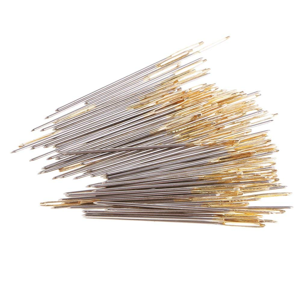 Flameer 100Pcs Metal DIY Needle Threaders Cross Stitch Kits Sewing Craft Tools for Needlepoint Yarn