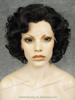 big curly short hairstyle synthetic wigs lace front box