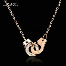 Handcuffs Love Crystal Necklaces & Pendants Rose Gold Color Fashion Brand Chain Accessories Jewelry For Women