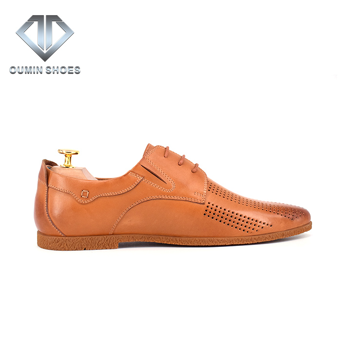 Hollowed for Men Shoes Leather Gentleman Shoes Casual Cow 100 Apricot Genuine wvqgzZSY